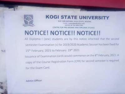 KSU notice to Diploma one (1) students on commencement of 2nd semester exam, 2019/2020