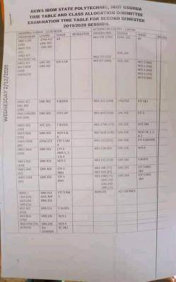 AkwaPoly 2nd semester examination time-table, 2019/2020