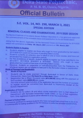 Delta Poly, Ozoro notice on commencement of remedial classes and examination, 2019/2020