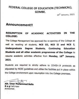 FCE Technical, Gombe resumption notice