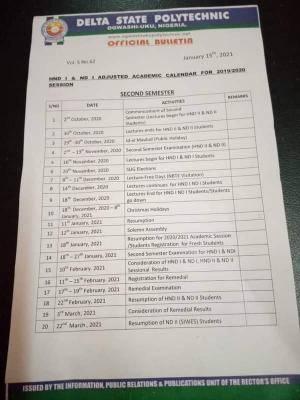 Delta Polytechnic, Ogwashi-uku adjusted academic calendar for 2019/2020 session