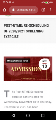 UNILAG reschedules Post-UTME screening exercise for 2020/2021 session