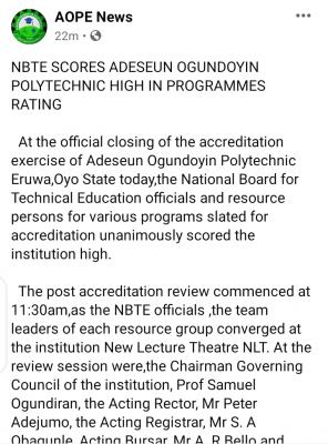 NBTE Scores Adeseun Ogundoyin Polytechnic high in programmes rating