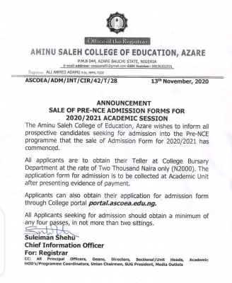 Aminu Saleh COE Pre-NCE admission form for 2020/2021 session
