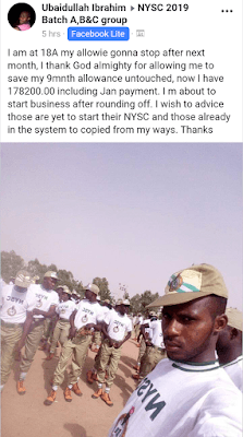Corper Reveals How He Saved N178,000 in Nine Months, Other Corpers React