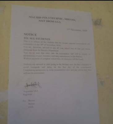 Maurid Polytechnic issues notice to all students