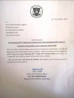 Nigeria Police Academy Issues Notice of Change in Screening Days and Dates