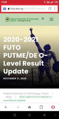 FUTO portal for O'level result upload for 2020 candidates enabled