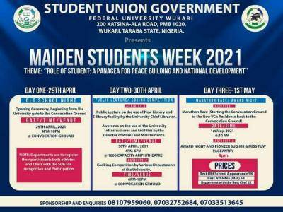 FUWUKARI 2021 Students' Week programme of events