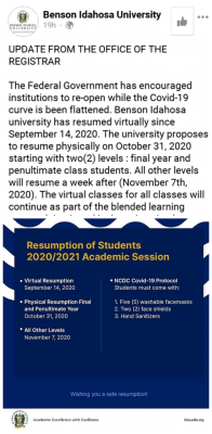 Benson Idahosa University resumption update