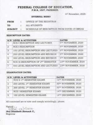 FCE Pankshin 2020 adjusted academic calendar and examination dates