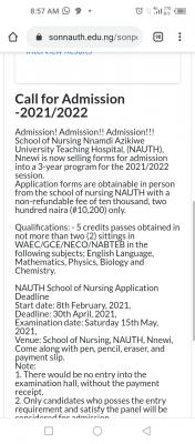 NAUTH School Of Nursing Nnewi admission form, 2021/2022