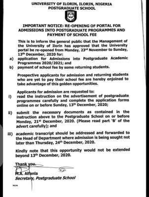 UNILORIN re-opens portal for postgraduate application and school fees payment