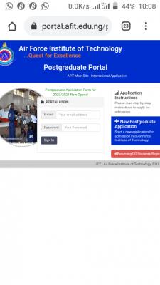 AFIT HND, Pre-HND and PGD admission form for 2020/2021 session