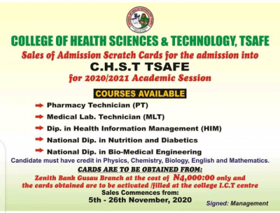 College of Health Sciences and Technology Tsafe Scratch Card