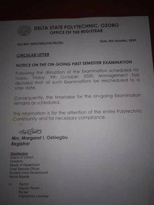 Delta Poly Ozoro Reschedules On-Going First Semester Examination