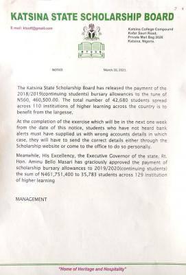 Katsina State scholarship Board notice on bursary payments