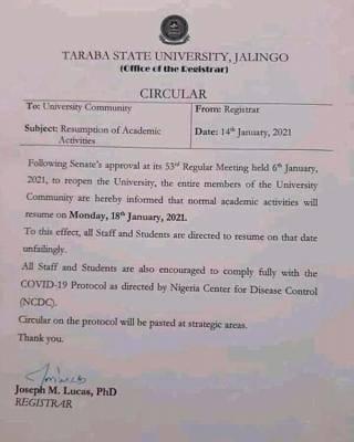 TASU notice on resumption of academic activities