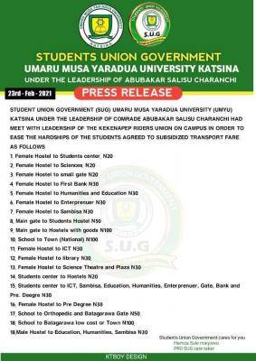 UMYU SUG notice on reduction of transport fares within the campus