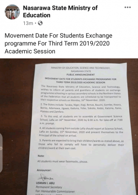Nasarawa State notice on students' exchange programme for 3rd term 2019/2020 session