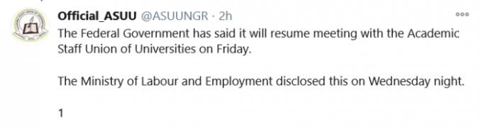 ASUU and FG set to meet on Friday, 20th Nov