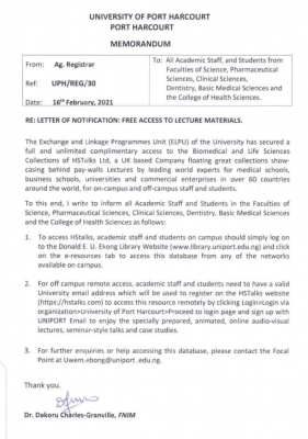 UNIPORT notification on free access to lecture materials