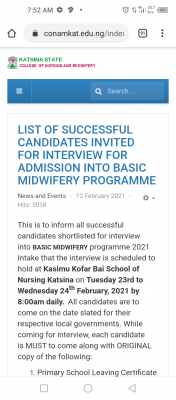 CONAMKAT interview dates for Basic and Community Midwifery successful candidates
