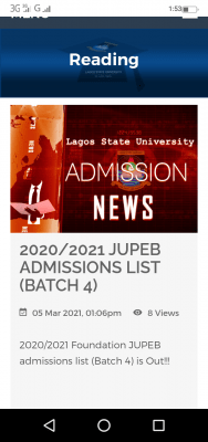 LASU JUPEB 4th batch admission list for 2020/2021 session