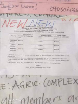 FCE Zaria 2nd semester exam timetable for 2019/2020 session