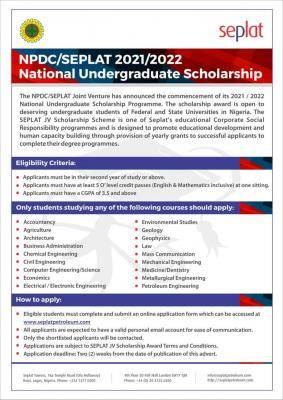 2021 Seplat JV National Scholarship Scheme for Nigerian Students