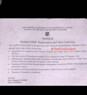 FUTA notice to students interested in NIMC Registration and Data Capturing