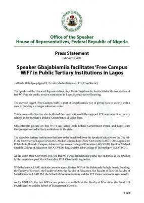 Schools in Lagos get Free Wi-Fi, ICT centres from Speaker, House of Assembly