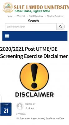Sule Lamido University 2020/2021 Post UTME/DE disclaimer notice