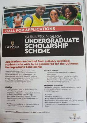 2020 Guinness Nigeria Scholarship Scheme For Young Nigerians