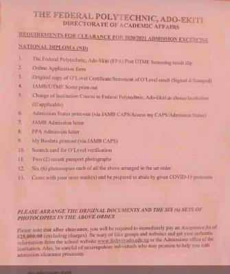Fed Poly Ado-Ekiti ND clearance requirements for 2020/2021 admission