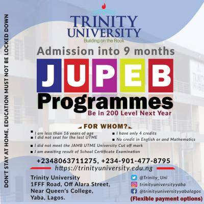 Trinity University JUPEB admission form for 2020/2021 session
