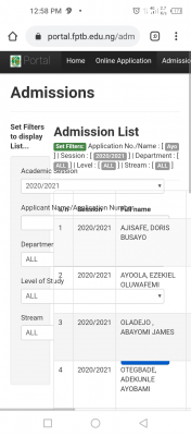 Fed Poly, Bauchi HND admission list for 2020/2021 session