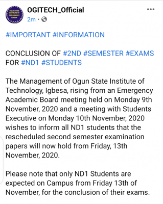 OGITECH date for NDI 2nd semester exam for 2019/2020 session