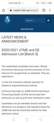 UNIPORT 3rd Batch admission list for 2020/2021 session