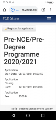 FCE Okene Pre-NCE & Pre-Degree (Remedial) admission for 2020/2021 session