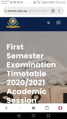 Bowen University 1st semester exam timetable for 2020/2021 session