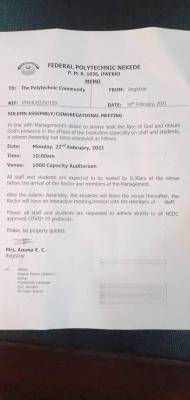 Fed Poly, Nekede notice on solemn Assembly/Congregation meeting