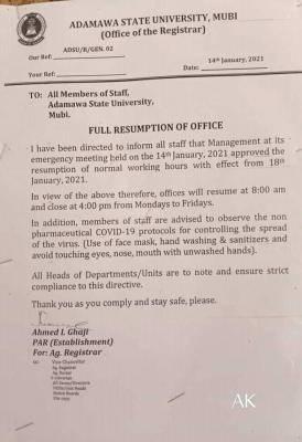 Adamawa state University full resumption notice to staff