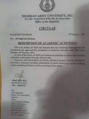NAUB resumption of academic activities