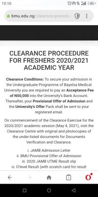 Bayelsa Medical University clearance procedure for new students, 2020/2021