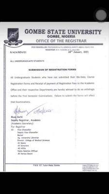 GSU notice to students on submission of course registration form