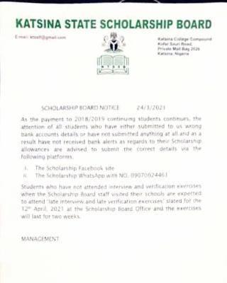 Katsina State Scholarship Board notice to students