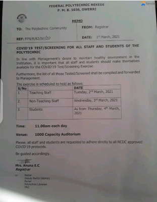 Fed Poly Nekede notice to staff and students on COVIS-19 test/screening