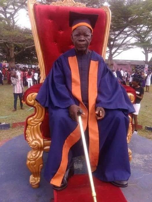 Elderly Man photographed at his Matriculation at Ken Saro Wiwa Polytechnic, Rivers State