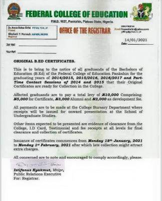 FCE pankshin notice on collection of certificates